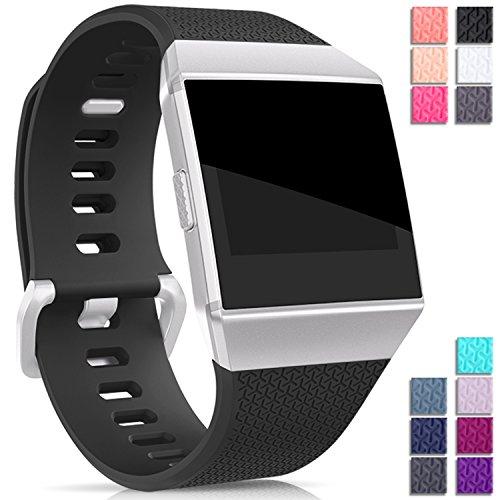 Mornex Kompatibel Fitbit Ionic TPU Armband, Klassische Armbänder, Unisex sportliches Ersatzband zur Fitness Schwarz