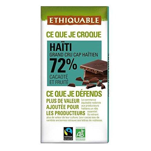 Ethiquable chocolat noir 72% cacao d'Haiti bio 100g - ( Prix Unitaire ) - Envoi Rapide Et Soignée