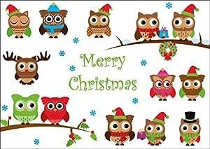 Edition colibri set da 10 biglietti d 39 auguri di natale con gufetti merry christmas amazon - Weihnachtskarten amazon ...