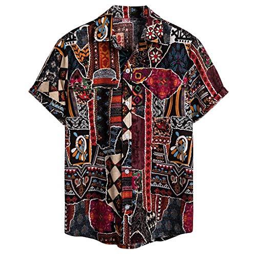 Luckycat Herren Hawaii Leinenhemd Kurzarm Herren Hemd Sommerhemd Herren Regular Fit Freizeithemd Herren Sommer Hemd Casual Regular Fit Oberteile Herren Leinen Kurzarm Button Shirt Sommer Herren Weste -