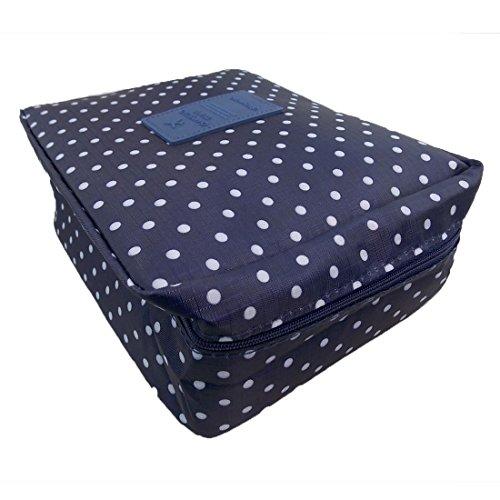WSS - Neceser unisex multiusos de viaje/vacaciones | Bolsa de aseo lavable, impermeable, varios compartimentos | Bolsa de maquillaje multifuncional (color azul oscuro con lunares)