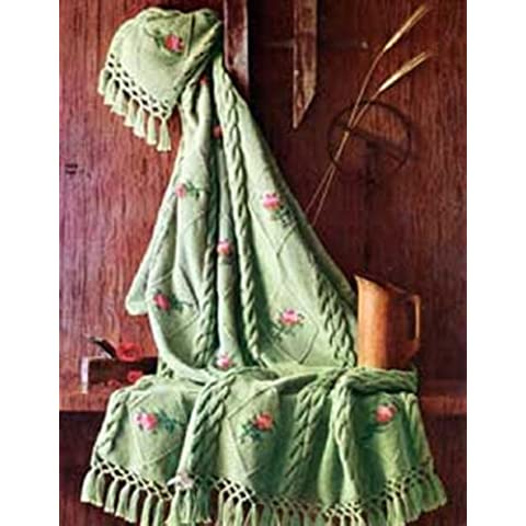 Knitting Pattern: KNITTED ROSEBUD AFGHAN - A Downloadable Vintage Pattern (ePattern) - AVAILABLE FOR DOWNLOAD to Kindle DX, Kindle for PC, Mac, iPhone, ... book, blanket, crafts) (English Edition)