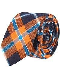 Andrews & Co. Estrecho lazo de tela escocesa naranja marina