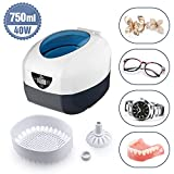Uten Ultrasonic Cleaner Super Large Capacity Low Noise Wash Machine for Cleaning Eyeglasses Jewelrys Watches Razors Dentures Combs Tools Instruments (L-750ml)