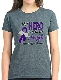 CafePress Alzheimers Hero Now My Angel T-Shirt - Womens Cotton T-Shirt