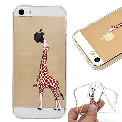 Artfeel Klar Weich Silikon Hülle für iPhone SE, iPhone 5S/5 Handyhülle Niedlich Karikatur Giraffe Muster,Ultra Dünn Leicht Transparent Flexibel TPU Bumper Stoßfest Zurück Schutzhülle