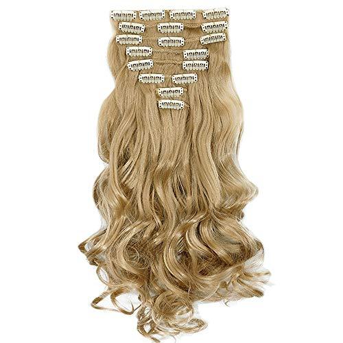 Extension clip capelli hair extensions bionde sintetiche 8 ciocche 60cm ricci mossi lunghi full head - biondo chiaro