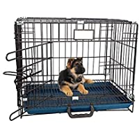 RvPaws Single-Door Folding Metal Dog Cage with Paw Protector Easy to Move with Removable Tray Iron Cage for Dog & Rabbit…