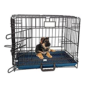 RvPaws Single-Door Folding Metal Dog Cage with Paw Protector Easy to Move with Removable Tray Iron Cage for Dog & Rabbit 18 Inch Black