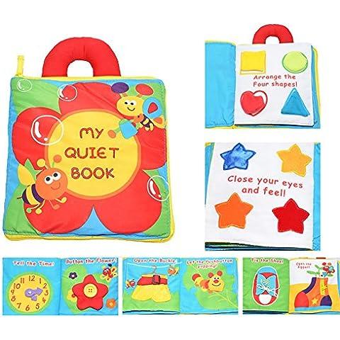 Actividad infantil suave del niño del bebé Libros de Aprendizaje Historia libro de paño de educación para la vida del sueño Libros de bebé de juguete Desarrollo-Flor por