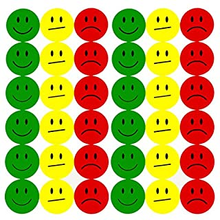 Oblique Unique® 180 Smiley Face Sticker ø 2cm - Lächeln (Gün) - Neutral (Gelb) - Traurig (Rot)