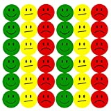 Oblique-Unique® 180 Smiley Face Sticker ø 2cm - Lächeln (Gün) - Neutral (Gelb) - Traurig (Rot)