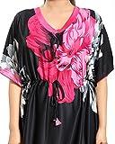 Noty Women's Floral Print Kaftan Nighty (Rani Pink & Black, Free Size)
