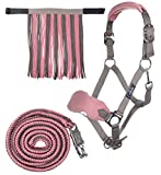 HKM Sports Equipment HKM Halfter mit Strick Panik & Fliegenfransen, Mokka/Milky Pink, Pony