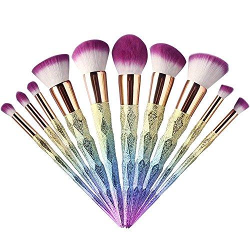 Ladista 10 Pcs Designer Makeup Brush Kit Foundation Blending Blush Eyeliner Eyeshadow Concealer Face Powder Application Cosmetic Makeup Brushes Set (Set of 10)