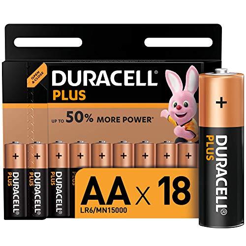 Duracell lr06 mx1500 plus aa batterie stilo alcaline, confezione da 18 ad apertura semplificata, 1.5 volt