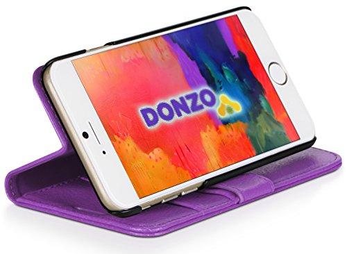 DONZO Tasche Handyhülle Cover Case für das Apple iPhone 6 / 6S in Grau Wallet Travel als Etui seitlich aufklappbar im Book-Style mit Kartenfach nutzbar als Geldbörse Wallet Structure Violett