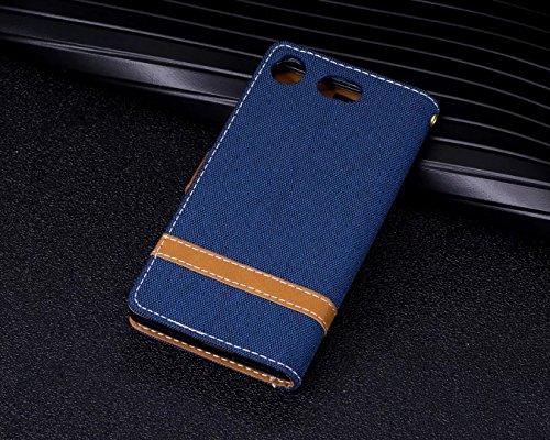 LEMORRY Sony Xperia XZ1 Compact Custodia Pelle Cuoio Flip Portafoglio Borsa Sottile Bumper Protettivo Magnetico Morbido Silicone TPU Cover Custodia per Sony XZ1 Compact, Stile del Denim Blue Profondo blu
