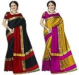 Art Decor Sarees Cotton Saree with Blouse Piece (Pack of 2) (Ashi Combos_Black & Red_Free Size)