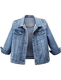 a1b69e5863bb06 LaoZanA Jeans Giacca Donna Giubbotto Corto Denim Cappotto Jacket