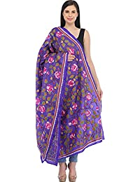 Exotic India Spectrum-Blue Kantha Dupatta From Kolkata With Hand-Embroide - Blue