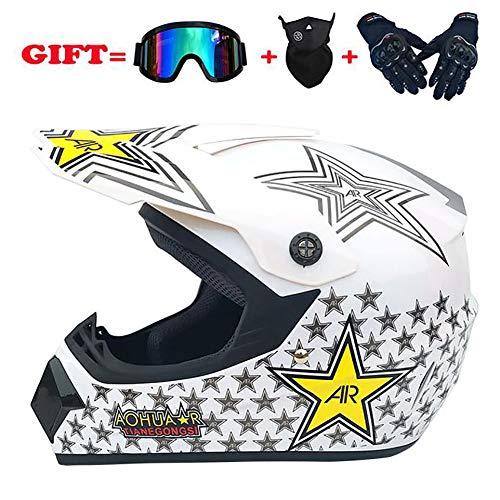 Club Boy DOT-zertifizierter Helm, Offroad-Motorrad BMX ATV-Outdoor-Radsporthelm, sichere und komfortable 4-Jahreszeiten-Kombibrillenmaskenhandschuhe,White,L - Dot Club