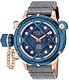 Invicta Men's Russian Diver Mechanical Watch with Blue Dial Analogue Display and Black Leather Strap 16177