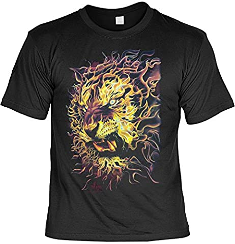 T-Shirt Flame Löwe USA Motiv Tier Shirt Amerika Weihnachtsgeschenk Geschenkidee Weihnachten Herren T-Shirt Laiberl Leiberl Geschenk für Freunde