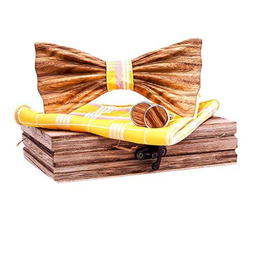 Fenverk 4 Stück Holzfliege Göteborg aus verschiedenen Hölzern mit wechselbarem Stoff Handgefertigt Trendartikel Mascherl Schleife Querbinder -