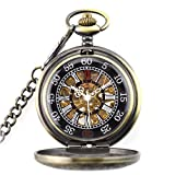 CestMall Reloj de bolsillo mecánico reloj de bolsillo de números esculpidos clásicos Reloj de bolsillo de reloj retro de moda Steampunk con cadena de 14.5 pulgadas para regalo de cumpleaños del día de