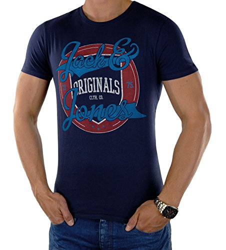 Jack & Jones Herren ORIGINALS T-Shirt STAMP TEE in Blau, Grau, Orange und Weiß, Regular Fit STAMP TEE Peacoat