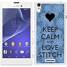 FUNDA CARCASA PARA Sony Xperia T3 DISEÑO KEEP CALM AND LOVE STITCH BORDE BLANCO