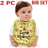 Feeding Bibs For Toddlers 100% Cotton Infant Kids Bibs 2PC SET, 0 To 9 MONTH Baby Bib Washable Saliva Burp Cloth Newborn Feeding Infant Bibs Baby Bibs Beebs, I Love Mommy Daddy Slogan Bib