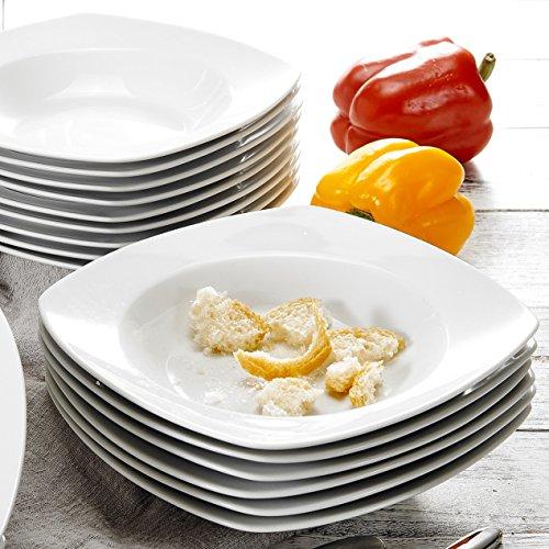 Malacasa, serie julia, servizio di piatti fondi in porcellana bianca avorio set 18 pezzi per 18 persone