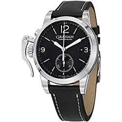 Graham Men's Chronofighter 1695 42mm Black Genuine Leather Band Steel Case Automatic Watch 2CXAS-B02A-L17S