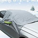 Autumn Love Copriauto Protettore Addensato Protegge Parabrezza Specchietto Retrovisore Anteriore Contro UV Pioggia Neve Ghiaccio Polvere e Defogliazione Adatto per la maggior parte delle Auto - Grigio