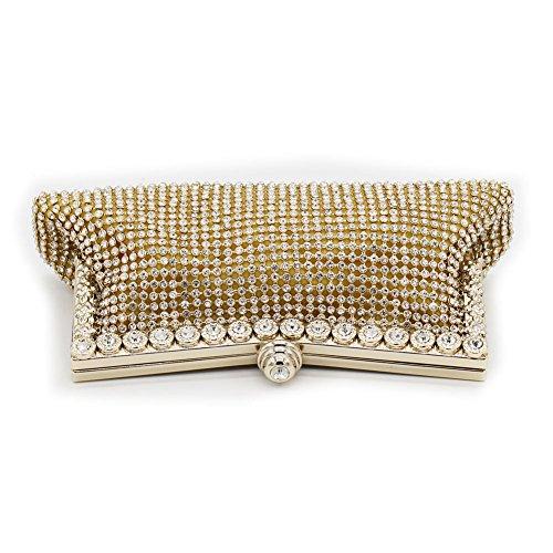 B-JOY Eleganti Strass Pochette da giorno Mini Clutch Donne Borsetta Oro
