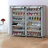 Gabinete de zapatos simple / multi-capa de montaje de doble fila de Oxford de almacenamiento de paño a prueba de polvo calzado simple moderno ( Color : Gris )