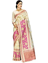 Saree For Women Latest Design 2018 Saree Mall Women's Silk Saree With Blouse Piece (Off-White_Silk Saree For Women_KNY32009)