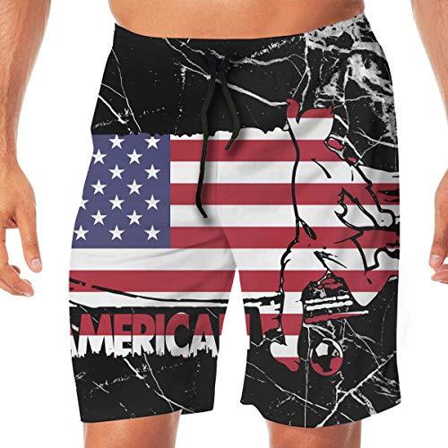 sheho Amerikanische Flagge Amerika Fußball Frauen Fußball Herren Badehose Board Shorts Haushalt Hosen Sporthosen zum Schwimmen, Beachwear Sport Laufen Shorts mit Taschen Größe L