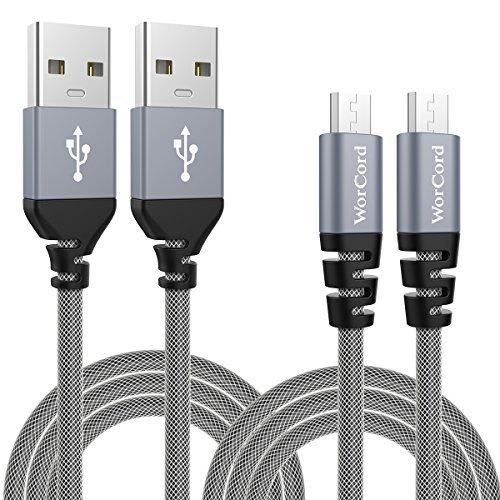 WorCord Cable Micro USB 2-Unidades Carga Rápida 2m Cable de Conexión Nylon Cable Micro USB Sincronización y carga usb para dispositivos Android, BQ Aquaris U, Huawei P9 lite / P10 Lite, DOOGEE X10, Samsung Galaxy S7 / S7 Edge / Note 5, Motorola Moto G4 Plus, Tabletas y más - Gris Espacial