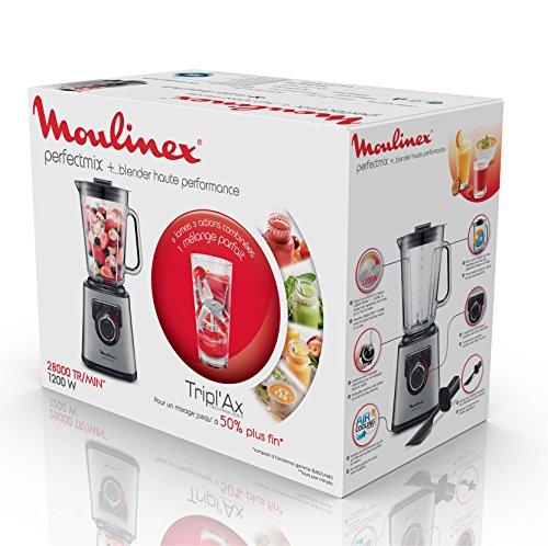 Moulinex Perfect Mix+ LM811D10 Batidora de vaso de 2 litros y 1200 W, vidrio acabados exteriores de acero inoxidable, selector de la velocidad retroiluminable, 3 programas, modo manual y autoclean