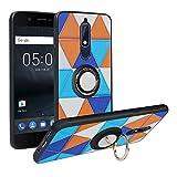 Alapmk Kompatibel mit Nokia 5.1 2018 Hülle, Pattern Design [Kratzfest] TPU Schutzhülle Hülle mit Metallfingerringständer [Magnetic Car Mount], Stoßfest Handyhülle Cover für Nokia 5.1 2018,Triangle