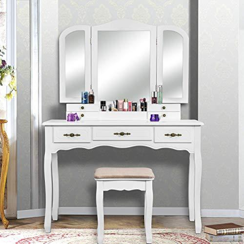 YOUKE Meuble Maquillage avec 3 Miroirs, 7 Tiroirs, 1 Tabouret,Pieds Résistantes Style Victorien, pour Chambre ou Dressing (Blanc)