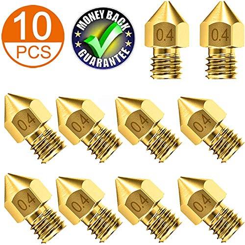 QFUN - 10 boquillas para impresora 3D MK8, cabezal de impresión de latón para Ender 3, Anet A8, CR-10/S/S4/S5, filamento de 1,75 mm, color dorado