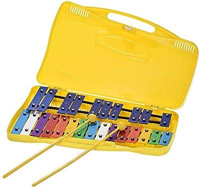 ammoon Glockenspiel Vistoso 25 Notas Xilófono Ritmo de Percusión Educacion Musical Juguete del Instrumento de Enseñanza con 2 Mazos Funda de Mano para el Bebé Niños