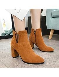 Para Color Camel Tacón Amazon Botines es Zapatos De ExFctn0Rwq
