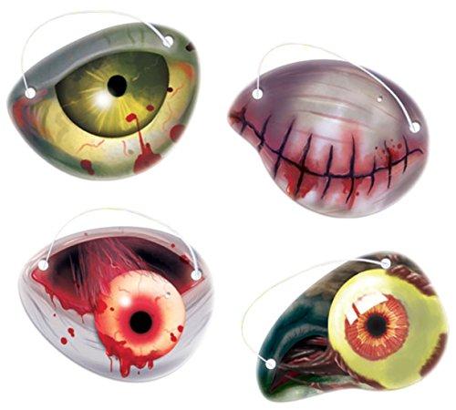 Nerd Girl Zombie Kostüm (Halloweenia - Karneval Kostüm Accessoire Zombie Augenklappen 12 Stück,)