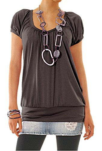 Bestyledberlin Damen Shirt, Top t56a 36/S braun (Shirt Empire Braun)