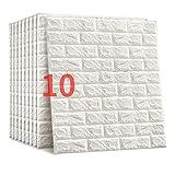 JXBoos 3D Autoadhesivas Ladrillos Paneles de Pared, Decoración Wallpaper Anti-Collision Espuma Suave Decoración Wallpaper Arte de decoración de Pared Bricolaje-Blanco-s 70x77cm(28x30inch)*10p